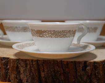 Vintage Brown Woodland Floral Pattern Corelle by Corning Teacups and Saucers- Set of 3  Pyrex Compatible