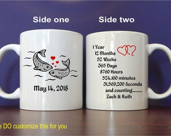 1st Wedding Anniversary Mug Gift to my Wife, Custom Coffee Cup Gift from Husband, Personalized Gift for Coffee lover , MAC015