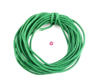 2 m Green 2mm waxed cotton cord (80A)