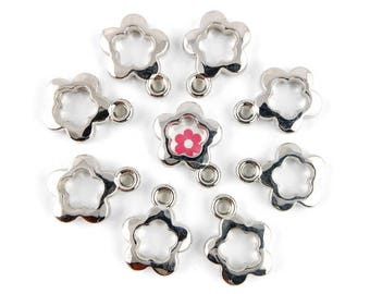 x 10 bail (102D) 19x15mm Silver Flower charm