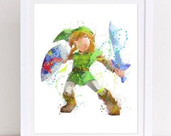 70% legend of zelda , watercolor zelda, watercolor poster, nursery legend of zelda, disney watercolor, watercolor disney, printable poster,