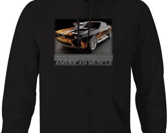 American Muscle Dodge Charger Supercharger Flames Paint Custom Hooded Sweatshirt- 5138