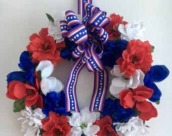 Patriotic wreath - 4th of July wreath - red white and blue wreath - patriotic door wreath - Americana wreath - stars and stripes wreath