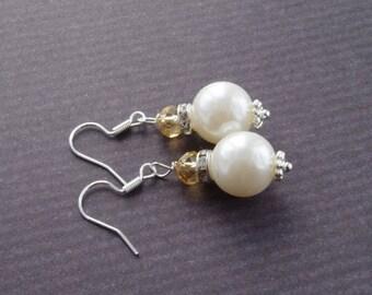 Sale White Pearl Crystal Earrings Bridesmaid Earrings Bridesmaid Gift  Small Dangle Earrings Ivory Pearl Earrings  Ivory Weddings Bridal Jew