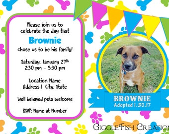 Dog Adoption Day Celebration Digital Invitation | Dog Birthday | Dog Adoption Party
