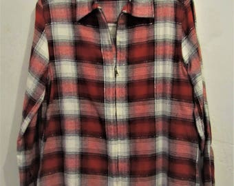A Women's,Vintage 80's,Red Plaid,Zip Front Avante Garde SHIRT/JAC,Made in INDIA.S(6)