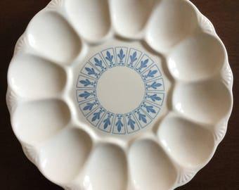 Vintage Deviled Egg Dish - Deviled Egg Platter - Cornflower Blue Pattern - Medium Deviled Egg Dish - Potluck - Party - Holidays