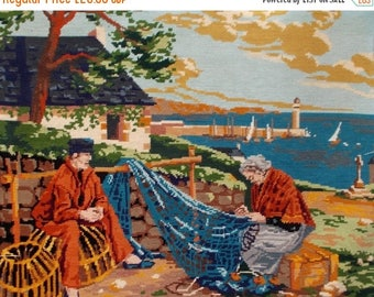 SALE 10% OFF Completed Needlepoint Tapestry Vintage French 'Repairing the Fishing Nets'.   (4829s)