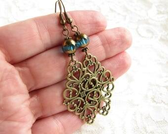 Blue earrings Anniversary gift for her Edwardian earrings Victorian earrings Bronze earrings Elegant earrings Bead Earrings Drop Earrings