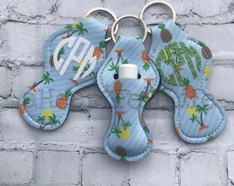 Tropical Chapstick Holder Keychain | Monogrammed Keychain | Personalized Chapstick Holder | Personalized Gifts | Lipstick