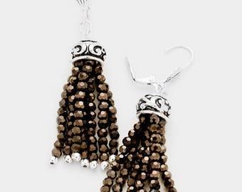 Antique Patterned Metal Faceted Glass Bead Tassel  Earrings- Silver Tone/Black Diamond