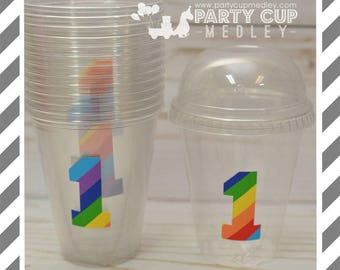 Rainbow Birthday Favor Cups with Dome Lids or Party Cups, Lids & Straws