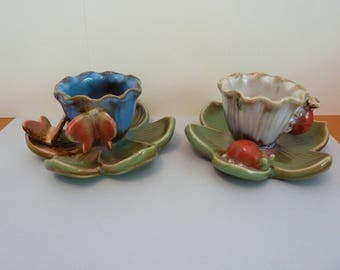 Ceramic Flower Candle Holder Pair, w / Butterflies, & Lady Bugs