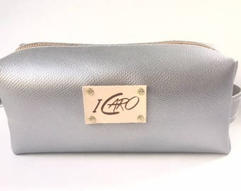 Silver Leather Makeup Bag