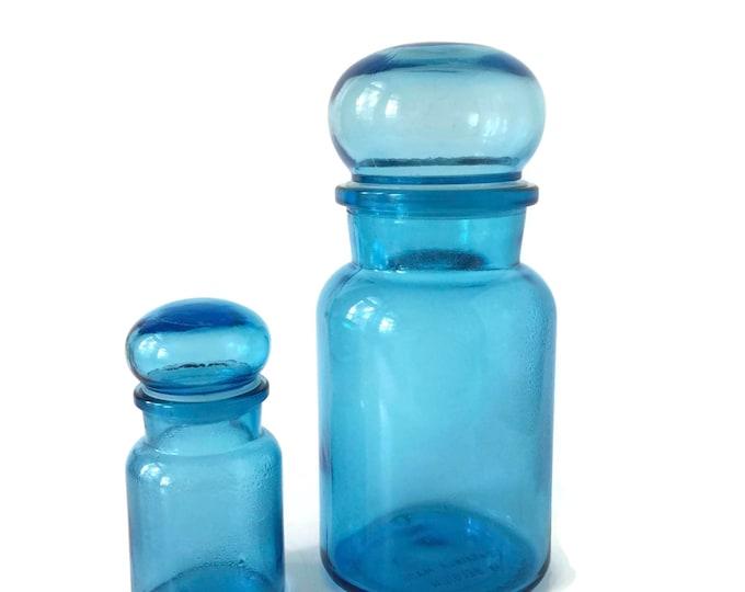 Turquoise Glass Bathroom/Kitchen Storage Jars