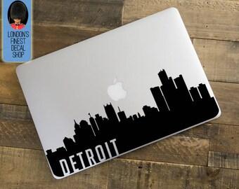 Detroit City Skyline Macbook / Laptop Decal