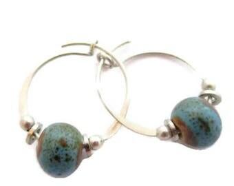 Pretty Vintage Sterling Silver Aqua Colored Bead Hoop Earrings*15Mm*925*D241
