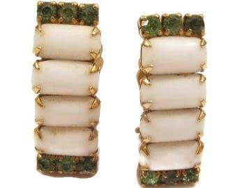 Vintage Milk White Art Glass Green Rhinestone Gold Plated Clip-On Earrings*Y663