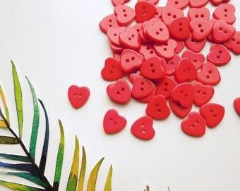 20 pcs Red heart buttons, Heart sewing buttons, Bulk red buttons, Love scrapbooking buttons, Christmas craft buttons, Wholesale buttons
