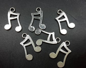 x 10 charms pendants in silver, 16 x 12 mm music, music note