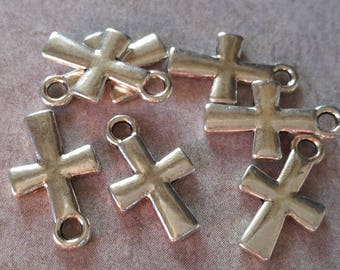 Charms plain cross charms, spirituality, antique cross - silver metal - 14 x 8.5 mm