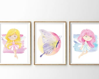 Fairy and Butterly Watercolor Poster Printable - Watercolor Fairies - Kids Posters