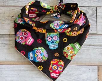 Skull Dog Bandana, Black Cantina Skulls Bandana, Black Skulls Bandana, Cantina Skulls Bandana, Tie On Bandana