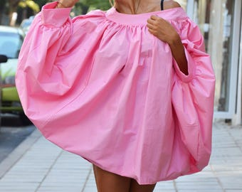 Extravagant Womens Pink Shirt, Oversize Cotton Maxi Shirt, Loose Party Shirt, Asymmetric Shirt By SSDfashion