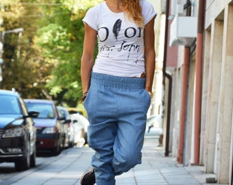 Drop Crotch Light Blue Denim Pants, Urban Clothing Extravagant Trousers, Casual Harem Pants with pockets by SSDfashion