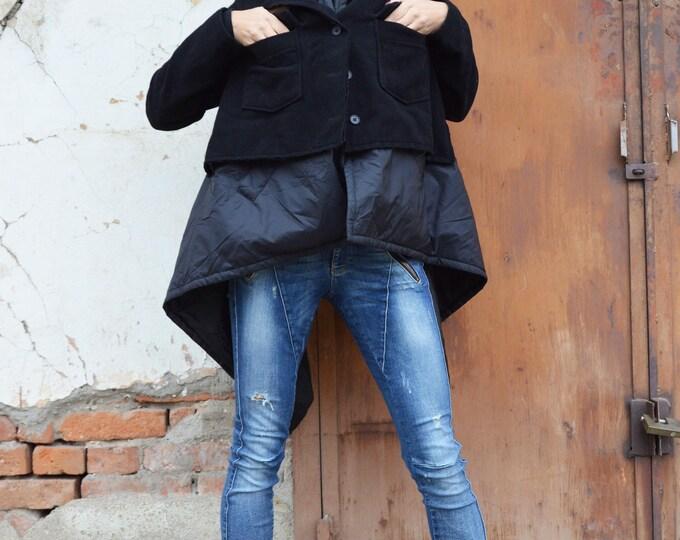 Asymmetric Black Warm Coat, Long Sleeves Casha Coat, Large Pockets, Winter Extravagant Cardigan by SSDfashion
