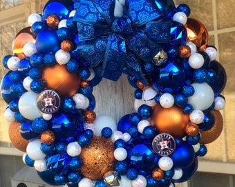 """Houston Astros Christmas Wreath - 13""""   This wreath is done in Atros colors - Blue, Orange and White"""