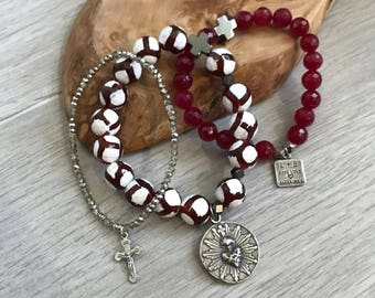 "The ""Be mine"" Sacred Heart of Jesus red rosary bracelet valentine stack"