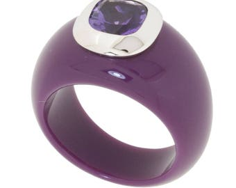 Ring amethyst and eggplant resin color