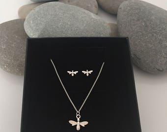Sterling silver bee jewellery. Silver bee earrings and necklace. Bumblebee jewelery. Bee necklace. Bee earrings