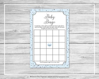 Blue and Silver Baby Shower Baby Bingo Game - Printable Baby Shower Baby Bingo Game - Blue and Silver Baby Shower - Baby Bingo Game - SP151