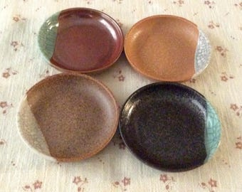 Set of Four Small Japanese Condiment or Appetizer Plates