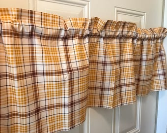 Colors of Fall Brown Orange plaid  Curtain Valance