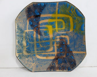 Signed Frayda Mid-Century Modern Enamel Over Copper Plate With A Bold Graphic Design.