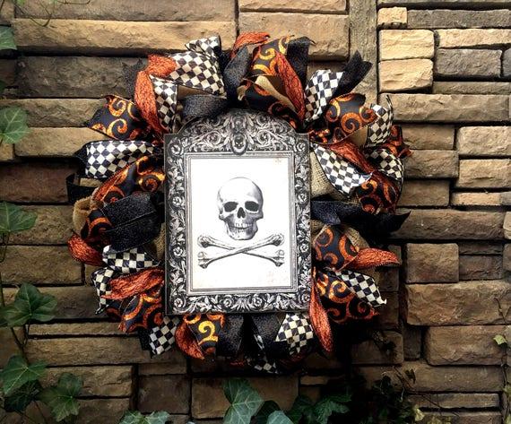 Halloween Wreath, Halloween Decor, Halloween Decoration, Vintage Halloween, Halloween, Farmhouse Decor, Primitive Decor, Burlap Wreaths