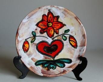 Vintage JASBA Plate WEST GERMAN Pottery, Ceramic Art Fat Lava Glaze Floral and Heart Décor, Mid Century Modern Ceramics Retro Wall Décor