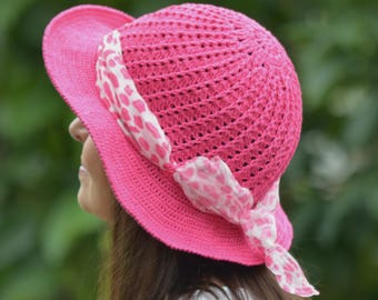 Floppy sun hat, summer hat women, cotton brim hat crochet, fuchsia bucket hat, pink cloche hat women, cotton sun hat women, birthday gift