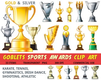 Trophy clipart, Goblet clipart, sports awards clipart, winner, gold silver, Gymnastics, Championship, awards set, Cup Clipart, commecial use