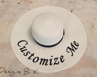 Personalized straw hat, Custom embroidered floppy beach hat, Straw hat, Beach hat, Destination wedding, Honeymoon, Bride gift, Gifts for her