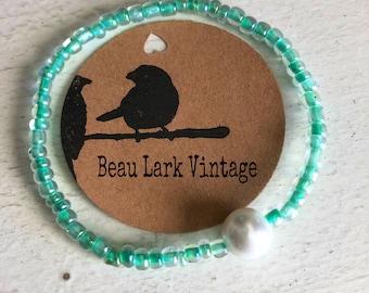 Sea-foam Green Beaded Bracelet