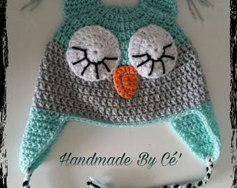 Beanie OWL crochet - baby or child - mixed boy or girl - birth gift or anniversary