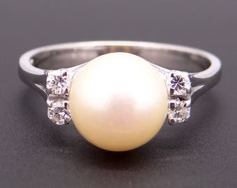 Classic 18k White Gold 8.5mm Pearl & Diamond Band Ring Size 7.75
