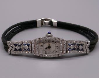 Gorgeous Art Deco Era Platinum 2ct Diamond & Sapphire 17 Jewels Manual Wind Ladies Watch