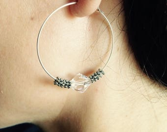 """""""Mila"""" hoop with a transparent glass bead and silver snowflake beads"""