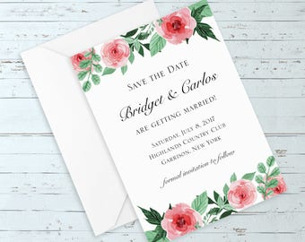 Watercolor Roses Wedding Save The Date - (Elegant, Romantic, Rustic, Boho, Floral, Custom Wedding Suite w/ Pink Watercolor Flowers)