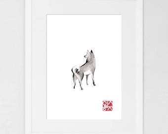 Shiba Inu (LARGE) Art Print Poster Unique Sumi-e Painting Japanese Cute dog Couple breed Ink Animal Illustration B&W Asia Zen Birthday